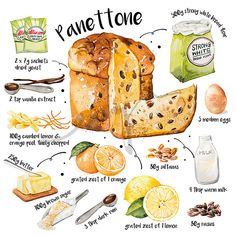 Is there anyone who loves Panettone for Christmas? This fruity cake is originally from Milan. I love to have one if I get a chance to visit Italy during the Christmas holidays Recipe Drawing, Cooking Tips, Cooking Recipes, Dessert Illustration, Food Sketch, Watercolor Food, Food Drawing, Base Foods, Kitchen Art
