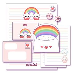 Rainbow Cupcake Stationery - sign up to get this for free:D