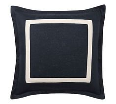 "Textured Linen Frame Pillow Cover, 20"", Sailor Blue/Ivory"