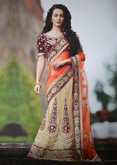 Orange and Golden Color Net One-Minute Designer Sarees : Gehana Collection YF-21613