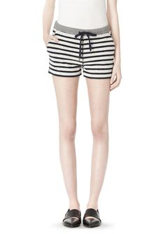 Striped French Terry Sweatshorts Thumb   T by Alexander Wang