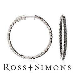 2.50ct t.w. Black Diamond In-And-Out Hoop Earrings in Silver black diamond hoop earrings