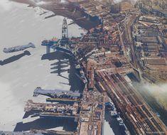 Strike Vector EX |Industrial aera & and airship construction facility, Paul Chadeisson on ArtStation at https://www.artstation.com/artwork/GzB63