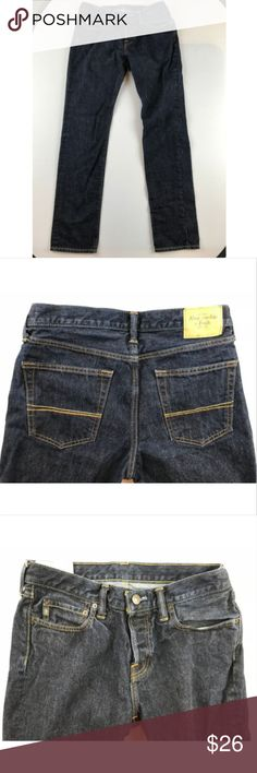 """Abercrombie Fitch 32X32 Dark Skinny Jeans Abercrombie & Fitch Skinny Jeans Men's size 32X32 Dark Wash Denim Low Rise Button fly 100% Cotton Machine Washable  Measurements Waist: 16"""" Inseam: 32.5"""" Inventory #2 Abercrombie & Fitch Jeans Skinny"""