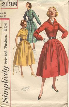 Simplicity 2138 Vintage 50s Shirtwaist Dress Pattern by bellaloona, $8.00