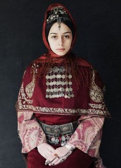 traditional Armenian outfit in beautiful silver & burgundy hues.  #traditional #costume #clothing #folk #dress #travel #woman #Armenia