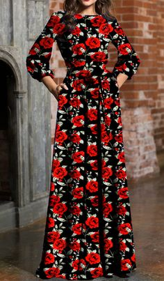 The maxi dress is featuring round neck, three quarter length sleeve, floral print, belt. Dressy Maxi Dress, Dress Outfits, Most Beautiful Dresses, Pretty Dresses, Indian Designer Outfits, Designer Dresses, African Dress, Indian Dresses, Modest Fashion