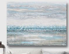 ORIGINAL Art Abstract Painting Blue Grey Wall Art Acrylic Painting Wall Decor Home Decor Modern Art Textured Coastal Teal White XL Christine