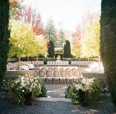 Beaulieu Vineyard's garden fountain surrounded by gorgeous antique chairs. Our guests sat on all sides and we stood in the center on a platform. The best part? We got to see each and every one of our friends and family as we looked around.