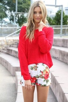 Floral shorts and red top for Ladies.Click the picture to see more stuff