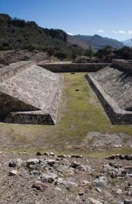 Yagul's I shaped ball court is the Largest ball court in the area, second largest in   Mesoamerica to Chichen Itza's. I shaped court.