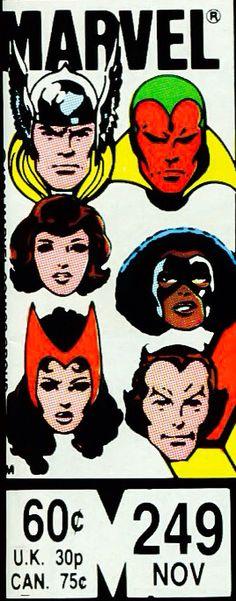 Marvel corner box art - Avengers (Thor, Vision, Wasp, Captain Marvel II, Scarlet Witch and Starfox)
