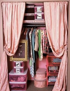 Create more space in the bedrooms by removing closet doors and replacing them with curtains.  Furniture can now be placed closer to the closet since you no longer need room to open the doors.