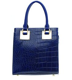 """SATCHEL HANDBAG    Animal skin appearance/Faux Leather. Zipper top closure, two handles, gold metal accents. Comes with long adjustable shoulder starp approx 22"""" in length. Fabric lined inside One zipper compartment and two open pockets inside. Length 9""""/Width 4""""/Handle drop 5""""    COLOR: BLUE    http://www.justtrendydesigns.net 