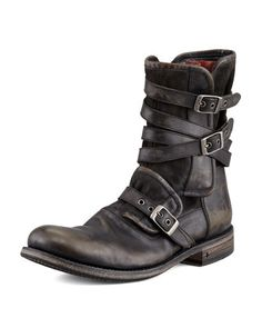 Multi-Strap Buckle Boot, Charcoal by John Varvatos at Neiman Marcus.