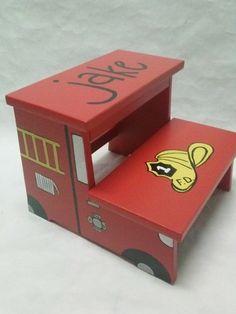 Children's Step Stool fire truck/ fireman theme by wouldknots, Fireman Nursery, Fireman Room, Firefighter Room, Firefighter Cakes, Baby F, Baby Kids, Baby Boy Rooms, Baby Room, Fire Truck Room
