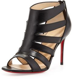 53f78fc88ac95b Love this  Beauty K Redsole Cage Sandal Black  Lyst Black Christian  Louboutin