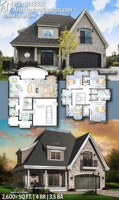 Architectural Designs House Plan 21483DR gives you 4 beds, 3.5 baths and over 2,600 sq. ft. of heated living space. Ready when you are! Where do YOU want to build? #21483DR #adhouseplans #architecturaldesigns #houseplan #architecture #newhome #newconstruction #newhouse #homedesign #dreamhome #dreamhouse #homeplan #architecture #architect #european