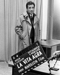 Dietro le quinte del film 'La vita Agra' regia di Carlo Lizzani, 1964 in cui Ugo Tognazzi interpreta la parte di Luciano Bianchi