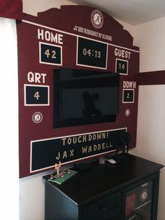 Custom Score board, flat screen Alabama Crimson Tide Boys Room, University Of Alabama Room, Boys Cave, Roll Tide