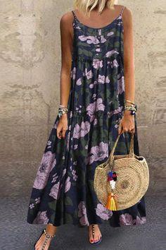 Women Floral Printing Dress Plus Size Loose Sleeveless Boho Retro Linen Long Maxi Dresse Plus Size Maxi Dresses, Casual Dresses, Summer Dresses, Cute Maxi Dress, Floral Maxi Dress, Maxi Outfits, Long Sleeve Mini Dress, European Fashion, Summer Chic