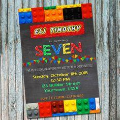 Invitación de LEGO Lego cumpleaños modificados por eavalidesigns