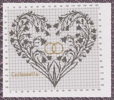 POINT DE CROIX - MES CHATS - MON QUOTIDIEN - HARDANGER - GRILLES GRATUITES - Cross Stitch Heart, Cross Stitch Alphabet, Counted Cross Stitch Patterns, Cross Stitch Designs, Wedding Embroidery, Fillet Crochet, Wedding Pillows, Gold Invitations, Valentines Day Decorations