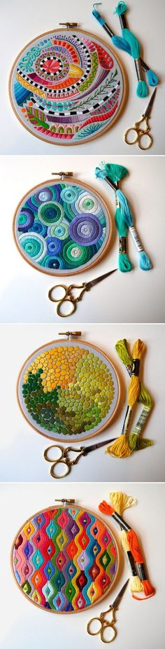 Embroidery Designs Amazing Embroidery by Corinne Sleight Embroidery Designs, Crewel Embroidery, Embroidery Hoop Art, Cross Stitch Embroidery, Abstract Embroidery, Modern Embroidery, Machine Embroidery, Diy Broderie, Textile Art