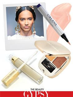 "naked neutrals.    so this is what happens when you use the vogue ""pin it"" button... product info.    Runway Inspiration: Dolce & Gabbana Fall 2012     Orlane Highlighter Care Brush, orlane.com     Dolce & Gabbana Smooth Eye Color Duo in gold, 36saksfifthavenue.com     Estée Lauder Pure Color Gloss in Shimmering Mirage, esteelauder.com"