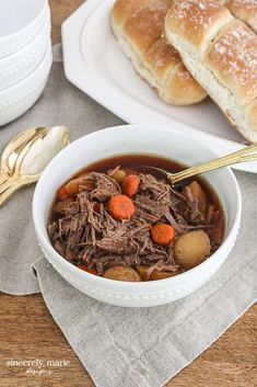 Crock Pot French Dip – Two Ways Fall Recipes, Slow Cooker Recipes, Beef Recipes, Simply Shredded, Buttery Rolls, Cozy Meals, French Dip, Slow Cooker Beef