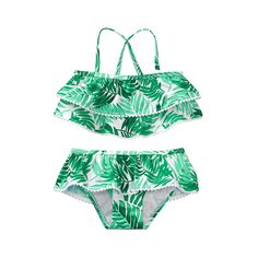 Girl Jungle Green Palm Print Palm Ruffle Swimsuit by Janie and Jack Girls Swimsuit Girl Green Jack Janie Jungle PALM print Ruffle Swimsuit Baby Bikini, Baby Swimwear, Baby Girl Swimsuit, Ruffle Swimsuit, Swimsuit For Kids, Bikini Swimsuit, 2 Piece Swimsuits, Cute Swimsuits, Women Swimsuits