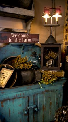 Old Blue Primitive Cabinet & Needfuls...Welcome to A Harvest Gathering...The Olde Homestead.