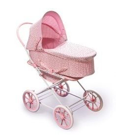 Badger Basket English Style Doll Pram, Carrier and Stroller, Pink Rosebud (fits American Girl Dolls) Double Strollers, Baby Strollers, 3 In 1 Prams, Girl Dolls, Baby Dolls, Best Prams, Doll Carrier, Dolls Prams, Thing 1
