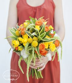 Bouquet Blueprint: yellow + green + orange blooms! Be perfect if it had red in it too