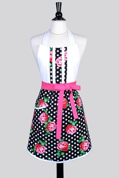 Blossom Womens Apron / Black White Polka Dot Pink Roses Retro Floral Womans Cute Cooking Hostess Kitchen Apron with Pockets by CreativeChics on Etsy