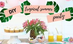 Tropical Summer Party - Ιδέες διακόσμησης για το πιο καλοκαιρινό πάρτι γενεθλίων (vid) Summer Party Decorations, Diy Wedding Decorations, Summer Pool Party, Summer Diy, Party Hacks, Diy Party, Party Ideas, Frozen Lemonade Recipes, Tumblr Birthday