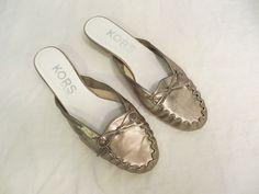 MICHAEL KORS Slip on Metallic Gold Leather Shoes Kitten Heel Slides Sz 8 M #KorsMichaelKors #Slides