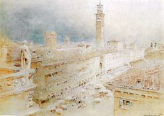 Verona by Albert Goodwin (English 1845-1932)....Piazza delle Erbe...