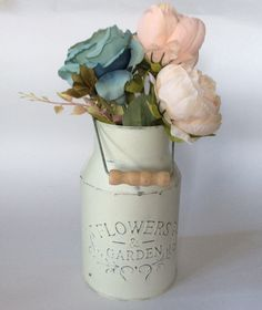 Hand painted vintage white  zinc metal milk churn with light distressed effect by DottyCottage1 on Etsy