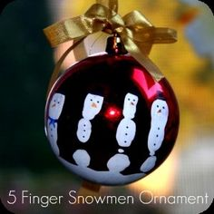 Christmas Kids Crafts - Finger Snowman Ornament