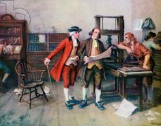 Benjamin Franklin and His Printing Press, 1954 (screen print), American School, (20th century) / Private Collection / Photo © GraphicaArtis / Bridgeman Images