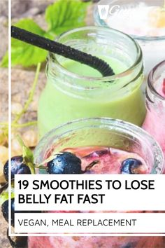 Here is the perfect collection of 19 smoothies to lose belly fat fast. What makes this collection of weight loss smoothies different? They actually work! Protein Fruit Smoothie, Raw Vegan Smoothie, Smoothie Prep, Fruit Smoothie Recipes, Smoothie Ingredients, Make Ahead Smoothies, Good Smoothies, Shake Diet, Meal Replacement Shakes
