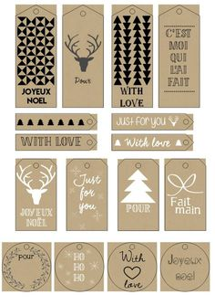 DIY Gifts And Wrap : Planche étiquettes KDO Noël_Kraft – Dekoideen: Die schönsten Ideen Noel Christmas, Christmas Is Coming, Christmas Crafts, Diy Cadeau Noel, Holiday Gift Tags, Diy Weihnachten, Christmas Printables, Xmas Cards, Christmas Inspiration