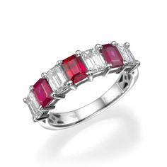 Emerald Cut Ruby Gemstones and Diamond Wedding Ring or Fashion Cocktail Ring   18K White Gold