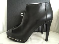 CHANEL BLACK LEATHER CHAIN PLATFORM ANKLE BOOTIES — Miami Lux Boutique Leather Chain, Black Leather, Chanel Boots, Chanel Black, Ankle Booties, Miami, Platform, Booty, Boutique