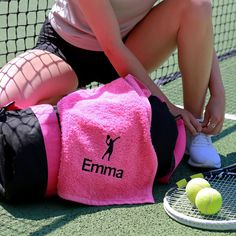 Keep cool on the court with this pesonalised gym towel! Add a name to either tennis design. Ideal gift for him or gift for her. This 100% Cotton towel is highly absorbant and durable. Ideal for any keen tennis player, this towel will keep you sweat free and your racket clean whilst on the court. Choose from one of our tennis themed logos. We recommend the Lime Green text on the 'GAME.SET.MATCH' design and a black or white name on the Tennis Silhouette design. The tennis silhouette will match… White Names, Letterbox Gifts, Gym Towel, Non Woven Bags, Christmas Gifts For Him, Use Of Plastic, Cotton Towels, Tennis Players, Silhouette Design