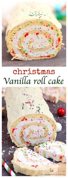 A Christmas Vanilla Roll Cake. A simple vanilla roll cake with red and green dots and spirals of creamy buttercream is the perfect dessert for Christmas parties. Cupcakes, Cake Cookies, Roll Cake Recipe Vanilla, Sweets Recipe, Christmas Vanilla Cake Roll Recipe, Christmas Treats, Christmas Parties, Christmas Popcorn, Food Recipes
