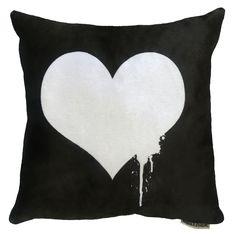 Maxwell Dickson Black White 18-inch x 18-inch Heart Throw Pillow