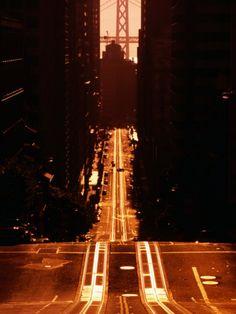 Cable Car Tracks on California Street, San Francisco, U.S.A.