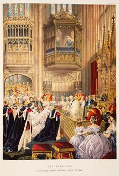 ROYAL WEDDING OF THE FUTURE EDWARD VII AND HIS WIFE, PRINCESS ALEXANDRA CAROLINE OF DENMARK ON 10 MARCH 1863 IN ST GEORGE'S CHAPEL.  - ROYAL COLLECTION / WINDSOR